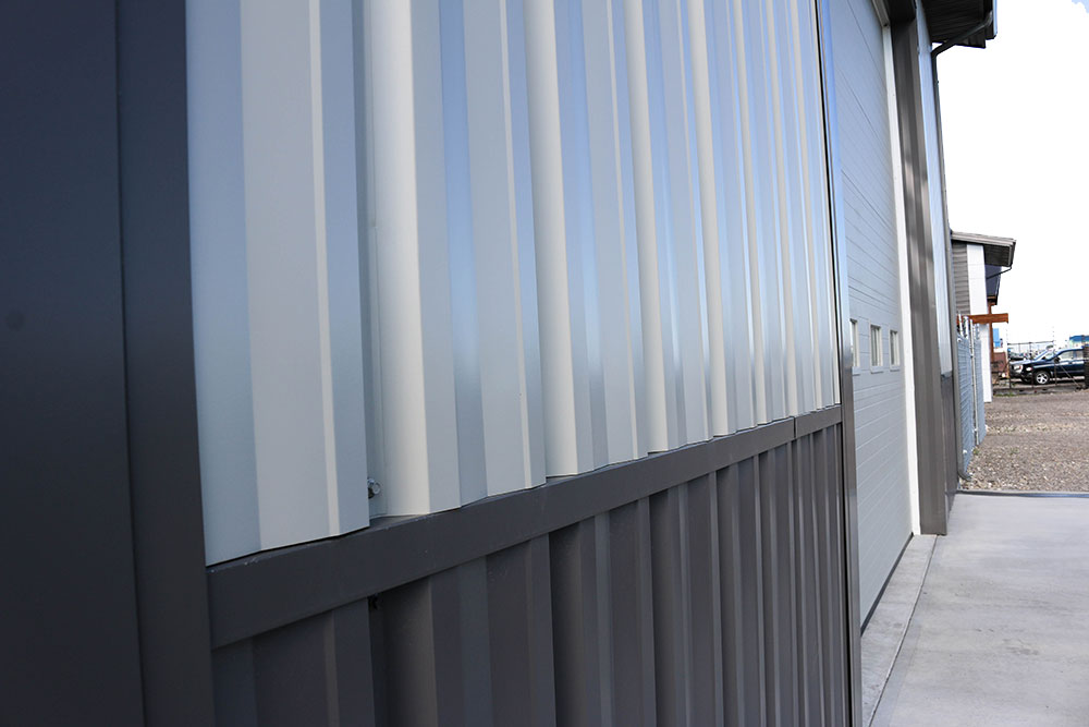 FA Panel Siding in Stone Grey and Charcoal