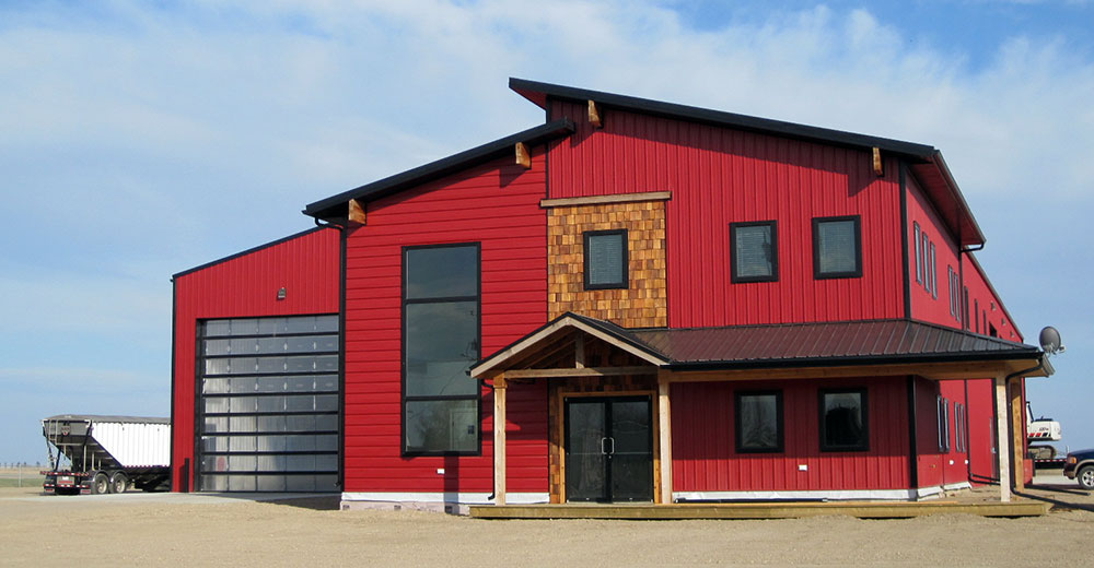 Commercial Building with FC-36 Panel Siding in Bright Red and FC-36 Panel Roof in Black