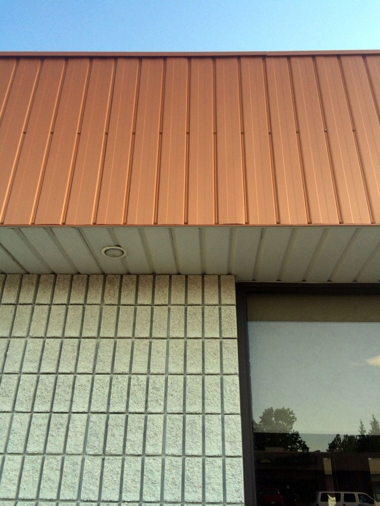 Commercial Store Front featuring Reverse II/6 Fascia in Copper Penny