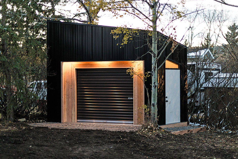 Motorcycle Shed featuring FormaLoc Panel in Black