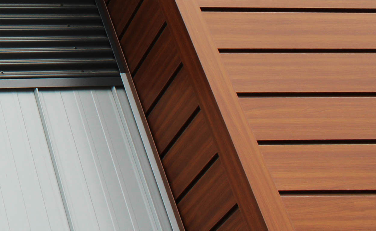 Commercial Building with Espresso Woodgrain panel