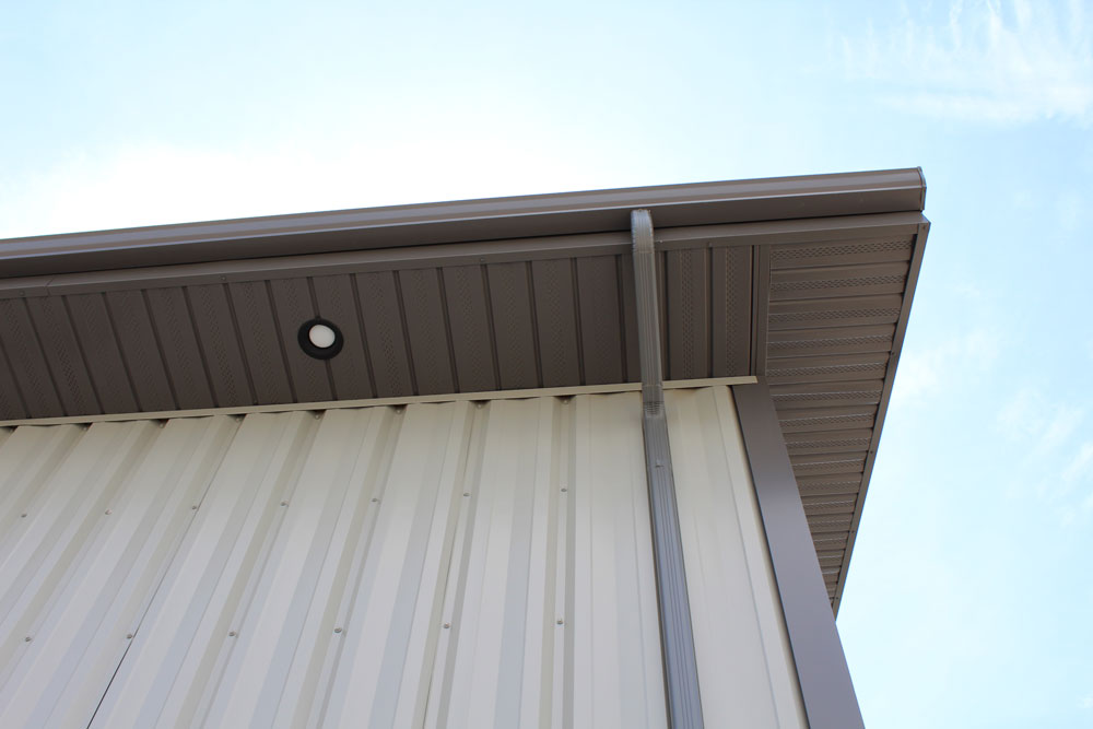 II/6 Reverse Soffit in Coffee Brown and FA Panel Siding in Stone Grey