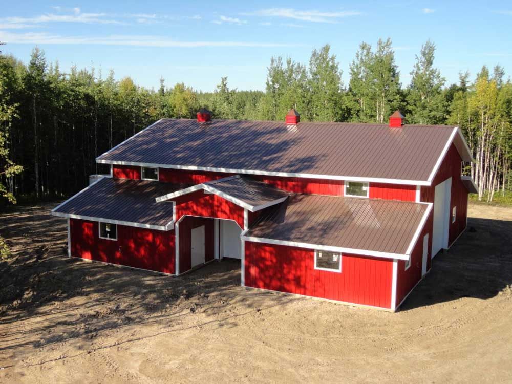 Agricultural Building with Bright Red